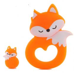 Renard endormi et sa perle  en silicone - Orange