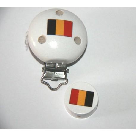 Clip et sa perle en bois - drapeau de la Belgique