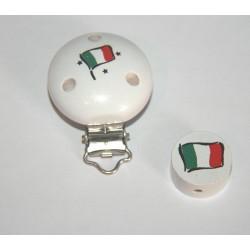 Clip et sa perle en bois - drapeau de l'Italie