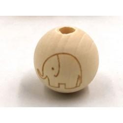 Perle bois imprimée éléphant