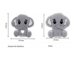 Eléphant  et sa perle  en silicone