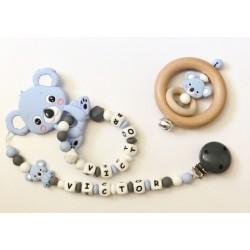 Ensemble anneau de dentition, attache et hochet Koala