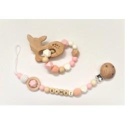 Ensemble anneau de dentition, attache tétine bambi rose