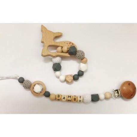 Ensemble anneau de dentition, attache tétine bambi gris