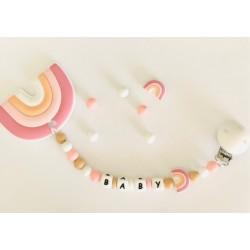 Anneau de dentition Personnalisable Arc en ciel rose