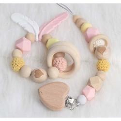 Ensemble anneau de dentition, attache tétine Coeur rose