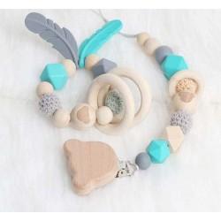 Ensemble anneau de dentition, attache tétine Ours turquoise