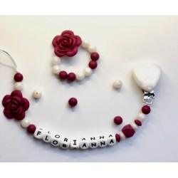 Anneau de dentition et / ou attache Fleur Aubergine