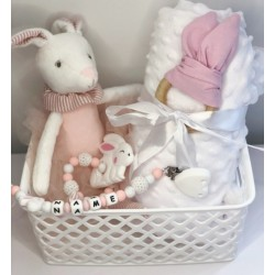 Panier naissance personnalisable Doudou lapin