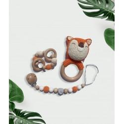 Attache tétine, anneau et hochet Renard Orange