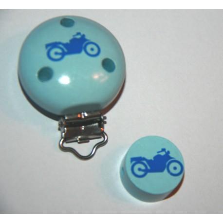 Clip et sa perle  en bois - Chouette lilas et parme