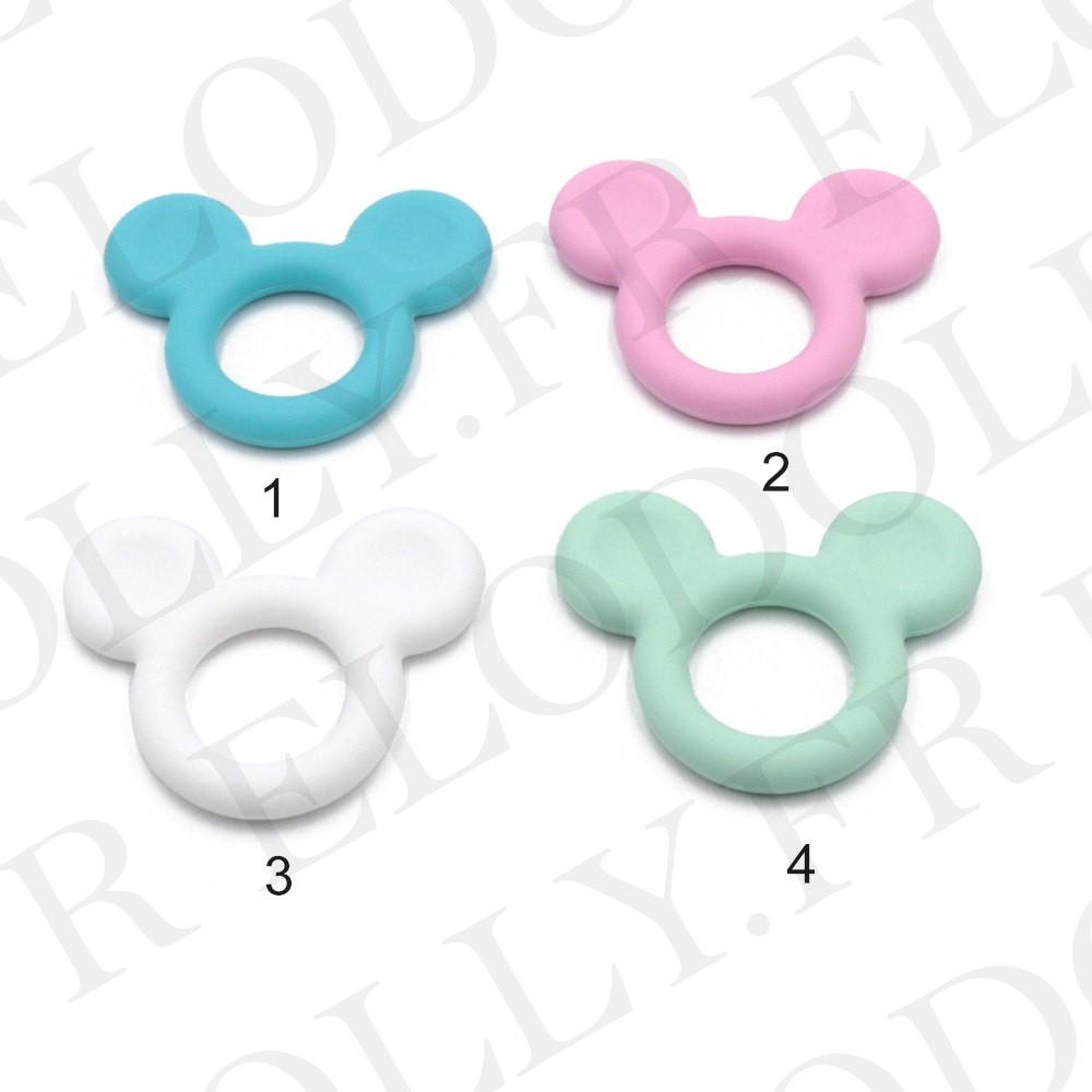 Perle en silicone ronde Mickey Gris moyen silicone alimentaire